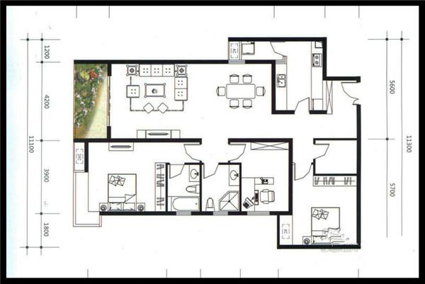 名门世家户型图一期c2户型 3室 面积:145.29㎡