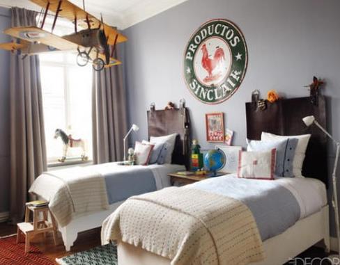 国外双胞胎儿童房间装修欧式风格图片