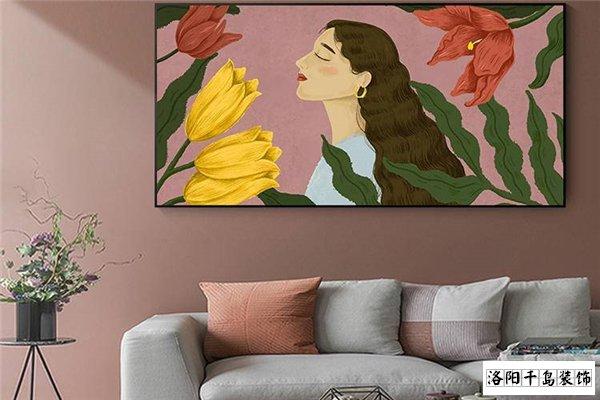 客厅沙发墙结合挂画